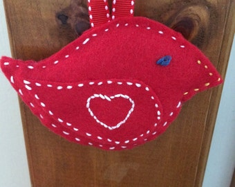 Felt bird - Valentine bird- red with white heart embroidered on wings