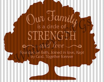 Our Family is a Circle of Strength and Love Founded on Faith Joined in Love Kept by God Together Forever SVG DXF Cutting File