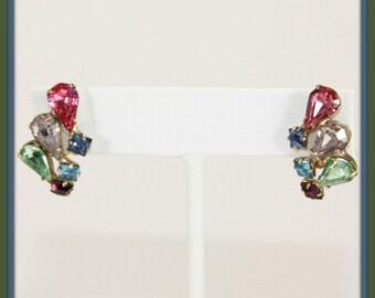 Vintage Rainbow Earrings,Vintage Rhinestone Rainbow Earrings,Vintage Pastel Rhinestone Earrings,Vintage Earrings,Vintage Screw-On Rhinestone