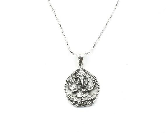Sterling Silver Ganesh Necklace, Ganesha, Elephant, Yoga Jewelry, Meditation, Spiritual, Boho, Gypsy, Festival, Hippie
