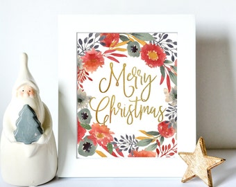 Christmas Printable Decoration - Gold Christmas Sign - Floral Christmas Decor - DIY Printable Christmas Decor - Merry Christmas Card