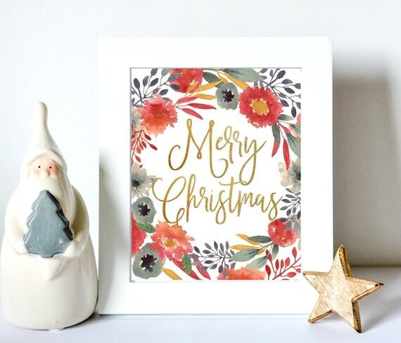 Christmas Printable Decoration - Gold Christmas Sign - Floral Christmas Decor - DIY Printable Christmas Decor - Merry Christmas Card