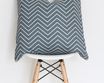 "22"" Blue Chevron Pillow Cover"