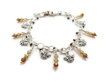 Bee jewellery   Bee charm bracelet   Silver honeybee bracelet   Insect Jewelry   Ombre beaded jewelry   Manchester bee, Busy Bee, Queen Bee