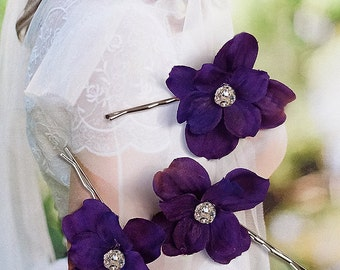 purple hair pins, special occasion hair flowers, royal purple flowers for hair, rhinestone hair pins, prom hair accessory, purple hair clips
