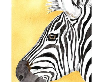 Fine art giclee print, watercolour print, zebra portrait, nursery decor and art, safari, african animal, gift for  kids, black and white