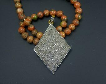 Pave Diamond Spade Pendant - 925 Sterling Silver - Closly Setted Diamonds - Pave diamond pendant - Pave Necklace -