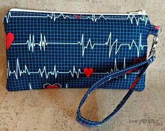 Nurse Wristlet - Nursing Zippered Pouch - Medical - Wallet - Doctor - Makeup Bag - Wristlet - OOAK - Custom Made