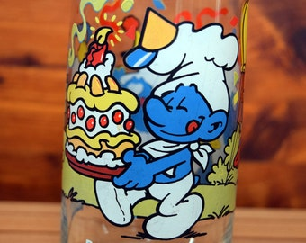 Baker Smurf Glass/The Smurfs/Peyo/Drink Glass/Water Glass/Tumbler/Smurf Party Glass/Smurf Cake Glass/Drinking Glass/Tall Glass/Licensed ware