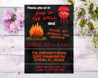 BBQ bonfire invitation bbq party invite bonfire party invitation backyard bbq invitation backyard bonfire invitation adult party cookout