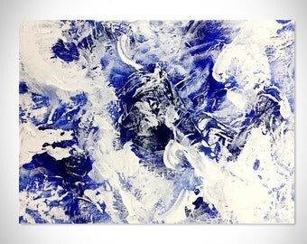 Abstract Acrylic Painting, 12x9, Original Painting on Canvas, Modern Art Abstract Painting, Contemporary Wall Art, Blue, White