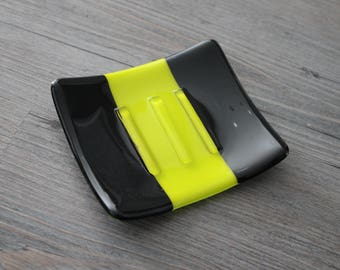 Striped Black And Yellow Green Bumble Bee Fused Glass Soap Dish