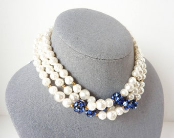 Vintage Pearl Choker Necklace with Blue Rhinestone Rondells from the 1930s