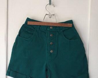 Women's Size 7/8 - Vintage 90s Pine Green High-Rise Denim Shorts ~ Sostanza