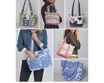 Sewing Pattern for Quilted Bags in Three Sizes, Simplicity 8310, New 2017 Pattern, Tote Bags using pre-quilted fabric