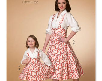 Sewing Pattern for Misses'/Children's/Girls' Matching Top and Jumper, McCalls Pattern 7184, Easy Sew, Matching Mother Daughter Dress