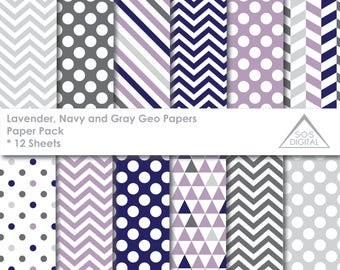 Lavender, Navy and Gray Paper Pack Digital Paper, beige, Polkadot, Chevron, Stripes, Triangles, small commercial use, jpeg, pastel, easter