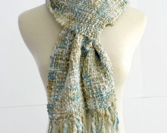 winter scarf, hand woven scarf, blue white ochre, gift idea, thick and thin handwoven scarf, chunky scarf, gift for her by SpunWool