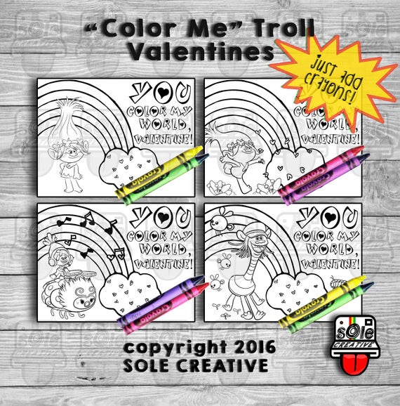 Trolls Printable Coloring Valentine Cards
