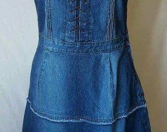 1990s Lace-Up Tiered Handmade Denim Sundress M Hippie Country Girl Dress
