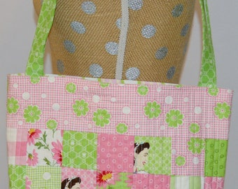 Quilted Tote Bag - Market Bag - Glamping - Retro - Pink and Green Floral - Carry All Bag - Quilted Bag - Craft Bag - Library Tote Bag - Tote