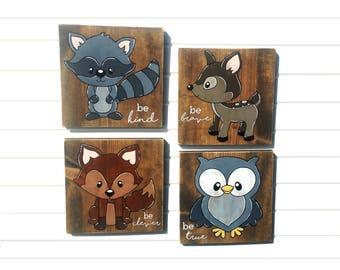 Woodland Creatures Nursery Wall Art Set of Four | Woodland Signs | Woodland Nursery Set | Woodland Nursery Signs | Woodland Animal Wall Art