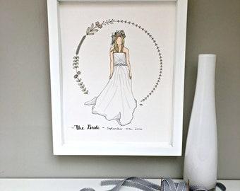 Bride portrait, bride illustration, wedding gift, anniversary gift, valentine's gift