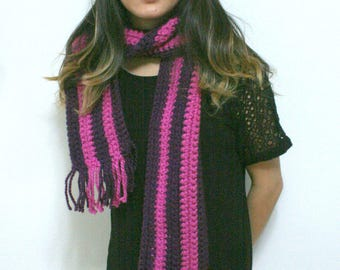 Crocheted Vertical Striped Purple and Pink Scarf
