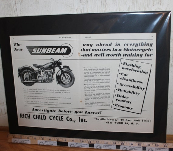 1946 Sunbeam Rich Child Motorcycle Co. 16'' x 20'' Matted Vintage Ad Art Poster #4607mc03m