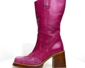 Vintage DESTROY Spain REAL Leather Snake Cowboy Western Boots Navajo 10