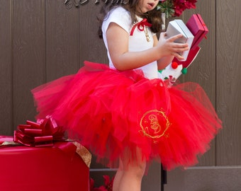 Red Flower Girl Outfit-Baby Valentines Day Tutu Skirt-Girl Valentines Outfit-Baby Girl Outfit-Girl Red Tutu Skirt-Baby Valentines Day Outfit