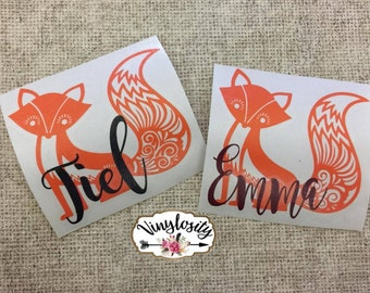 Aztec Fox Decal | Fox Decal | Personalized Fox Decal | Personalized Decal | Monogram | Yeti Decal | Car Decal | Laptop Decal | Vinyl Decal