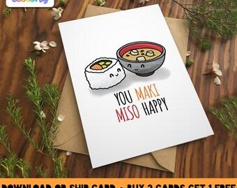 You MAKI MISO HAPPY Greeting Card - Love birthday Boyfriend Girlfriend Print Anniversary Friend Cute Animal Pun Food Couple valentines