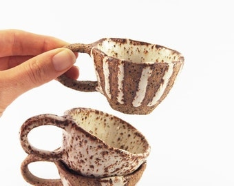 Speckled babychino cups/ Espresso cup/ toddler mug/ pottery/ stoneware/ ceramics/ rustic/ shino style/ baby gift/
