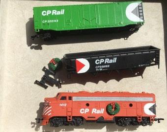 Vintage Model Train HO Scale Locomotive CP Rail 1412 Christmas train locomotive CP Rail Christmas Train