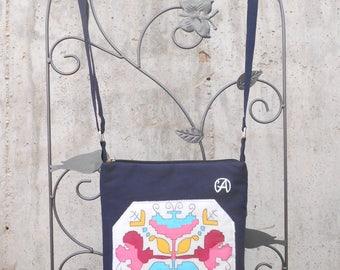 Painted Folklore Crossbody Bag,Everyday Painted Purse,Fabric Crossbody Bag,Cotton Crossbody Bag,Painted Handbag,Zipped Pocket Bag,Folk Bag