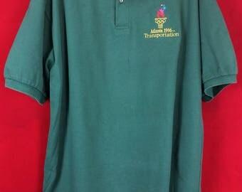 "Vintage Atlanta 1996 Olympics authentic souvenir polo shirt hunter green waffle knit 100% cotton Sz XL ""Transportation"" embroidered insignia"
