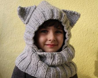Hooded scarf Cat hood Cowl set Knitted hood hat Cat hood Grey cowl set Kids cowl Grey shawl Wool hat Hood hat
