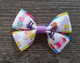 Peppa Pig Bow Clip | Peppa Pig Bow | No Slip Alligator Clip | Peppa Hair Clip | Peppa Pig Birthday Party | Peppa Pig Party Favors