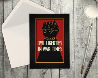 High Resolution Card Digital Download of Vintage Civil Rights Poster and War Propaganda.  Greeting Card for Any Occassion for MLK Day.
