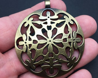 1 Large Tibetan Style Antiqued Bronze Flower Pattern Charm, Pendant, Crafting, Jewelry Making, (AC059)