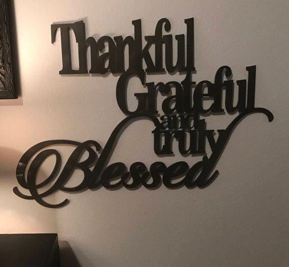 Thankful Grateful Blessed Metal Sign Home Decor