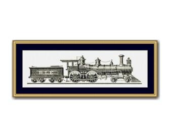 2 for 1 SALE! - Vintage Steam Locomotive  Cross Stitch Chart, Steam Train Instant  Download Cross Stitch Pattern (P-102)
