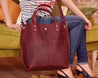 Large leather shopper bag, Large tote, Claret leather bag, Women leather tote, Leather shoulder bag, Leather tote, Leather Crossbody bag