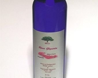 ROSE GLYCERIN Rosewater & Glycerin, 8 Ounce Skin Care face Pure 100 % Organic