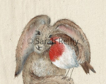The Hare and the Robin - A Contemporary Print of Original Painting, Cuddles, Hare, Robin