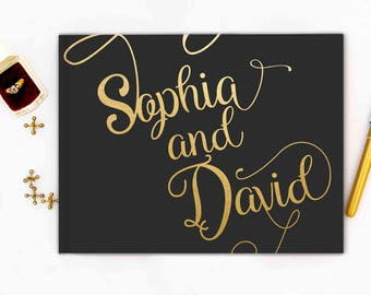 Real Gold Foil Wedding Guest Book landscape horizontal Gold foil Guest Books Custom Guestbook Modern Wedding Script Wedding - black