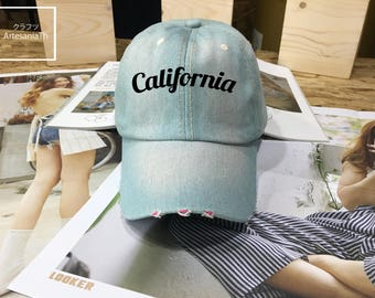 SAEL !! Baseball Cap California, Denim Cap, Jean Cap,Mermaid Hats, Mermaid Accessories, Mermaid party, Low-Profile Baseball Cap Hat