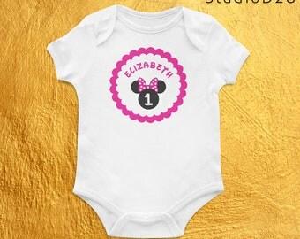 Birthday / Half Birthday / Months Old / Personalized Custom Name / Minnie // Baby Onesie / Bodysuit / Creeper / One Piece / Vinyl