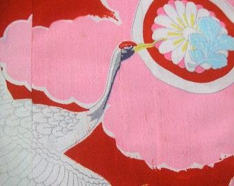 84: Japanese vintage kimono jyuban rayon pink red  white chrysanthemum flower cloud crane bamboo